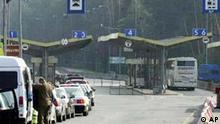 Straßensperre an der deutsch-polnischen Grenze