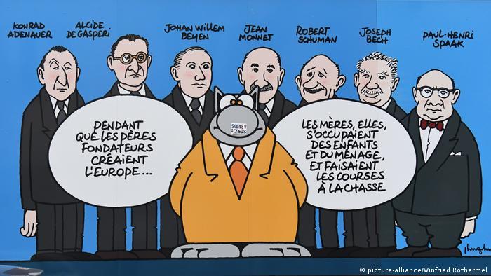 Die Katze mit den Gründervätern der Europäischen Union (picture-alliance/Winfried Rothermel)