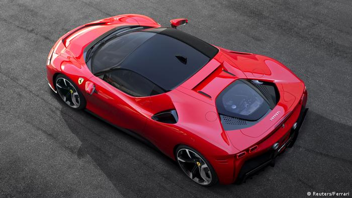 Ferrari SF90 Stradale hybrid sports car is displayed at the company's base in Maranello, Italy