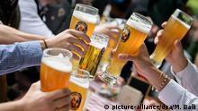 30.05.2019, Bayern, Pullach: Eine Männergruppe stößt im Biergarten eines Wirtshauses an der Isar mit ihren Weißbiergläsern an. Foto: Matthias Balk/dpa +++ dpa-Bildfunk +++ | Verwendung weltweit