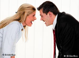 A woman argues with a man in a suit