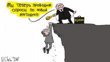 Karikatur von Sergey Elkin Putin Umfragewerte