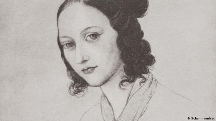 a sketch of Clara Wieck-Schumann at age 17 (Schuhmannfest)