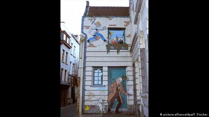 Comicfigur von Rick Master an einer Hauswand in Brüssel