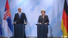 Berlin Der Serbische Präsident Boris Tadic mit Bundeskanzlerin Angela Merkel