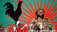 (FILES)In this file picture taken on December 11, 1985 Angolan rebel chief Jonas Savimbi addresses soldiers in Jamba. The family of slain Angolan rebel chief Jonas Savimbi are suing the makers of the popular video game Call of Duty for representing his character as a barbarian, their lawyer said on January 14, 2016. Three of Savimbi's children, who live in the Paris region, are seeking one million euros in damages from the French branch of game publisher Activision Blizzard. / AFP / Trevor Samson (Photo credit should read TREVOR SAMSON/AFP/Getty Images)