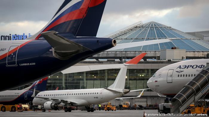 Самолеты в аэропорту Шереметьево в Москве