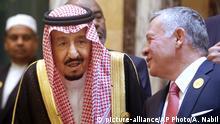 Saudi-Arabien Mekka König Salman und König Abdullah 2. von Jordanien