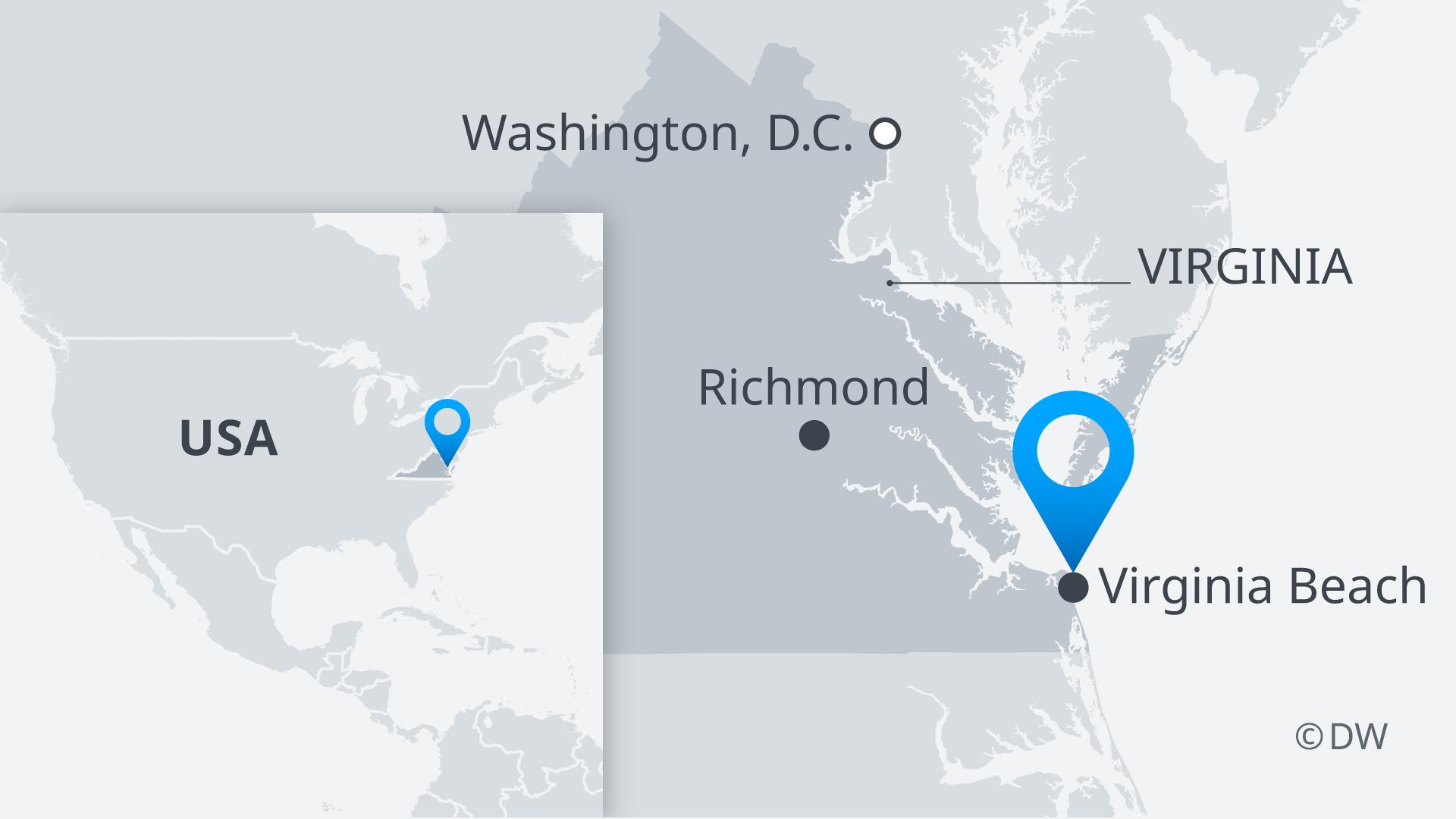 Infografik Karte Schiesserei in Virginia Beach, Virginia DE