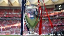 MADRID, SPAIN - JUNE 01: The Champions League trophy is seen on display inside the stadium prior to the UEFA Champions League Final between Tottenham Hotspur and Liverpool at Estadio Wanda Metropolitano on June 01, 2019 in Madrid, Spain. (Photo by Matthias Hangst/Getty Images)