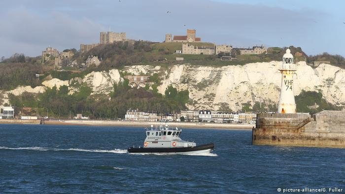 A boat patrols the English Channel waters