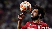 Liverpool's Egyptian midfielder Mohamed Salah gestures during the UEFA Champions League final football match between Liverpool and Tottenham Hotspur at the Wanda Metropolitan Stadium in Madrid on June 1, 2019. (Photo by JAVIER SORIANO / AFP)