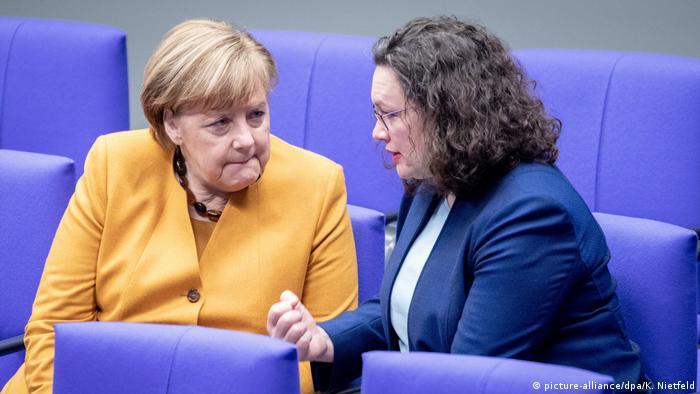 Angela Merkel şi fosta şefă a SPD, Andrea Nahles