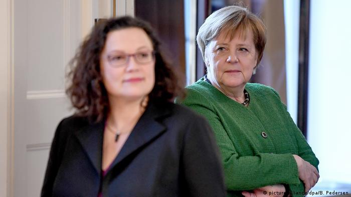 Angela Merkel und Andrea Nahles (picture-alliance/dpa/B. Pedersen)