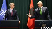 AL- NATO General Secretary,Jens Stoltenberg visits Tirana Description: 1. Jens Stoltenberg in the press conference in Tirana 2. Stoltenberg and Albania Prime Minister Rama in the joint press conference. Author: Ani Ruci, shot on June 2th, 2019, in Tirana These photos will be used for my piece on Stoltenberg visit in Tirana.