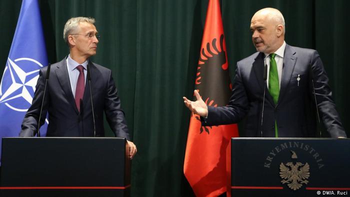 Albanian PM Edu Rama and Jens Stoltenberg give a press conference in Tirana