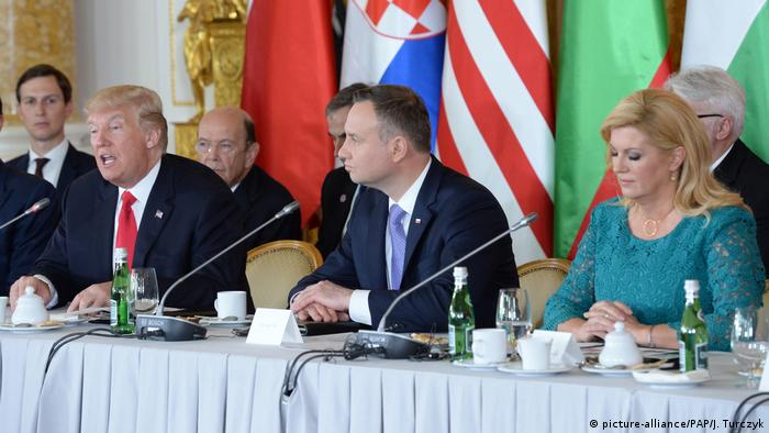 US President Donald Trump, Polish President Andrzej Duda, and Croatian President Kolinda Grabar-Kitarovic (r. to l.)