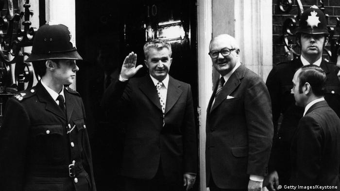 Romania's Nicolae Ceausescu waves outside 10 Downing Street, stood next to Prime Minister James Callaghan. Archive image from 1978. (Getty Images/Keystone)