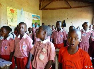 Young children sing in a Ugandan school