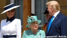 Britain's Queen Elizabeth II (C) speaks with US President Donald Trump (R) as US First Lady Melania Trump (L) smiles during a welcome ceremony at Buckingham Palace in central London on June 3, 2019, on the first day of the US president and First Lady's three-day State Visit to the UK. - Britain rolled out the red carpet for US President Donald Trump on June 3 as he arrived in Britain for a state visit already overshadowed by his outspoken remarks on Brexit. (Photo by TOBY MELVILLE / POOL / AFP) (Photo credit should read TOBY MELVILLE/AFP/Getty Images)