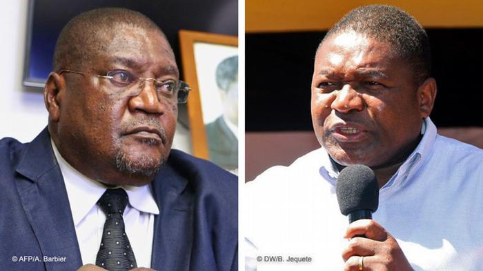 Ossufo Momade (esq.), líder da RENAMO, e Filipe Nyusi (dir.), Presidente de Moçambique