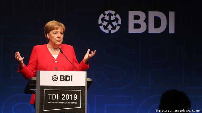 Angela Merkel giving a speech at the German Industry Day