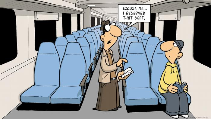 Fernandez cartoon: a man asking for another passenger to free his reserved seat
