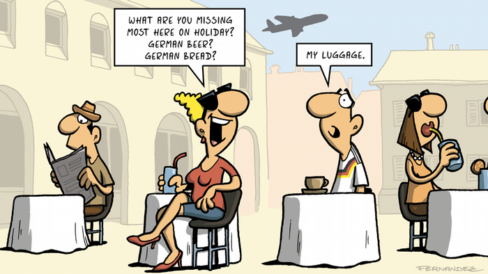 Fernandez cartoon, people at a cafe discussing what they miss.
