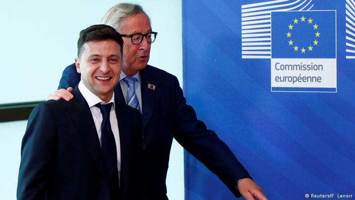 Президент Украины Владимир Зеленский и председатель Еврокомиссии Жан-Клод Юнкер