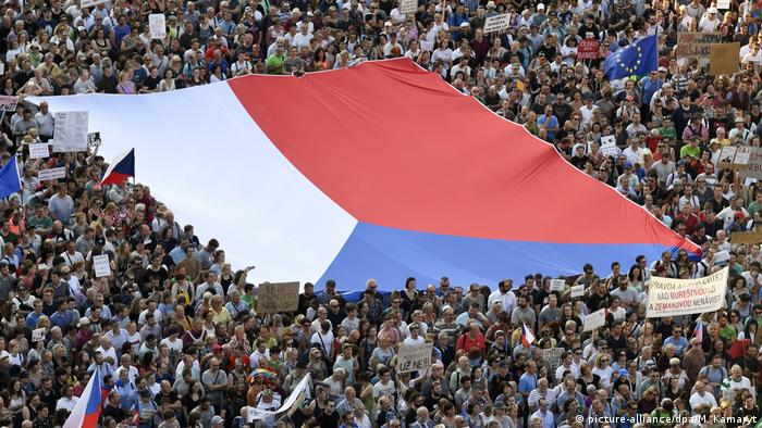 People joined another demonstration for Justice Minister Marie Benesova's resignation and also Prime Minister Andrej Babis's resignation, held by Million Moments for Democracy NGO, on the Wenceslas Square in Prague, Czech Republic, on June 4, 2019.