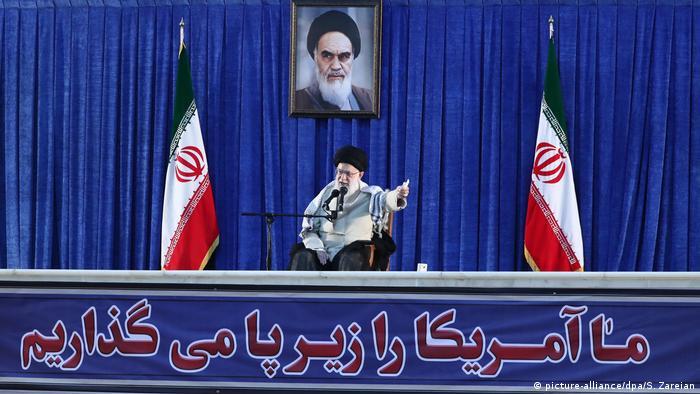 Iran's Supreme Leader Ayatollah Ali Khamenei speaking at a ceremony commemorating the 30th anniversary of Grand Ayatollah Ruhollah Khomeini's death