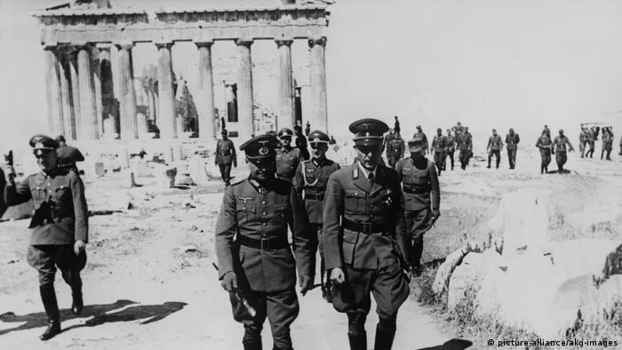 Militares alemães na Acrópole, em Atenas, em 1941