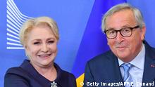 04.06.2019+++ Romania's Prime Minister Viorica Dancila (L) is welcomed by European Commission President Jean-Claude Juncker at the European Commission in Brussels on June 4, 2019. (Photo by EMMANUEL DUNAND / AFP) (Photo credit should read EMMANUEL DUNAND/AFP/Getty Images)
