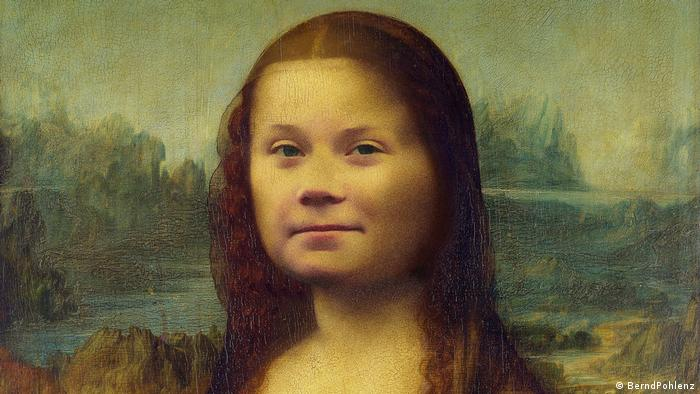 Mona Greta: combination of da Vinci's Mona Lisa and Greta Thunberg' portrait