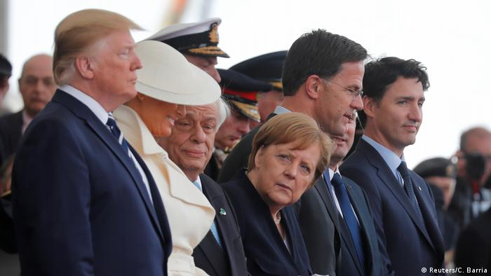 Trump, Merkel, Rutte and Trudeau at Portsmouth
