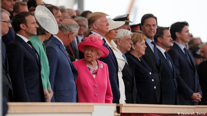 Líderes mundiais, entre eles a rainha Elizabeth 2ª, reunidos para a celebração do 75º aniversário do Dia D, em Portsmouth, na Inglaterra