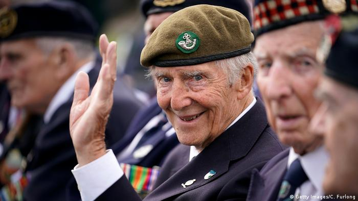 A British veteran waves