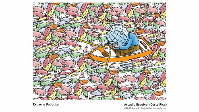 The Earth shown here as a person sitting in a boot, with a globe as its head, surrounding by plastic bottles floating in the water; the Earth as person holds its face in its hands, crying tears of desperation (Image: Arcadio Esquivel)