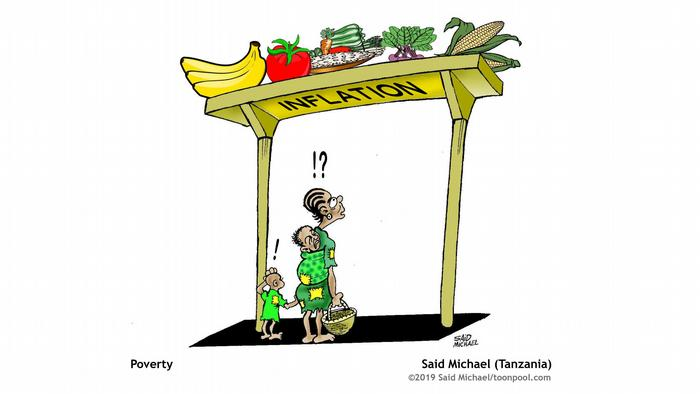 Cartoon 'Poverty': A mother with two children looks at food on a shelf with the word 'Inflation'