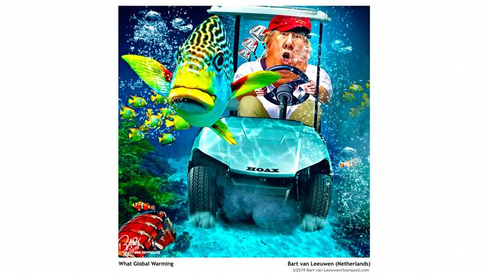 Cartoon 'What global warming?': Donald Trump driving underwater in a golf cart called Hoax