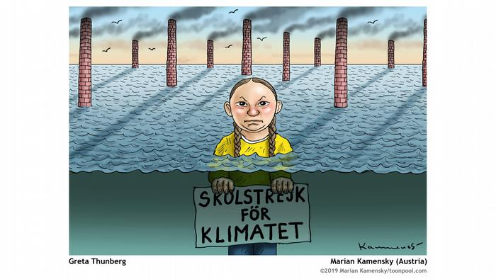 Greta Thunberg standing up to her neck in water, with smokestacks burning behind her. She's holding a poster that says school strike for the climate in Swedish, but it is under water. (Image: Marian Kamensky)