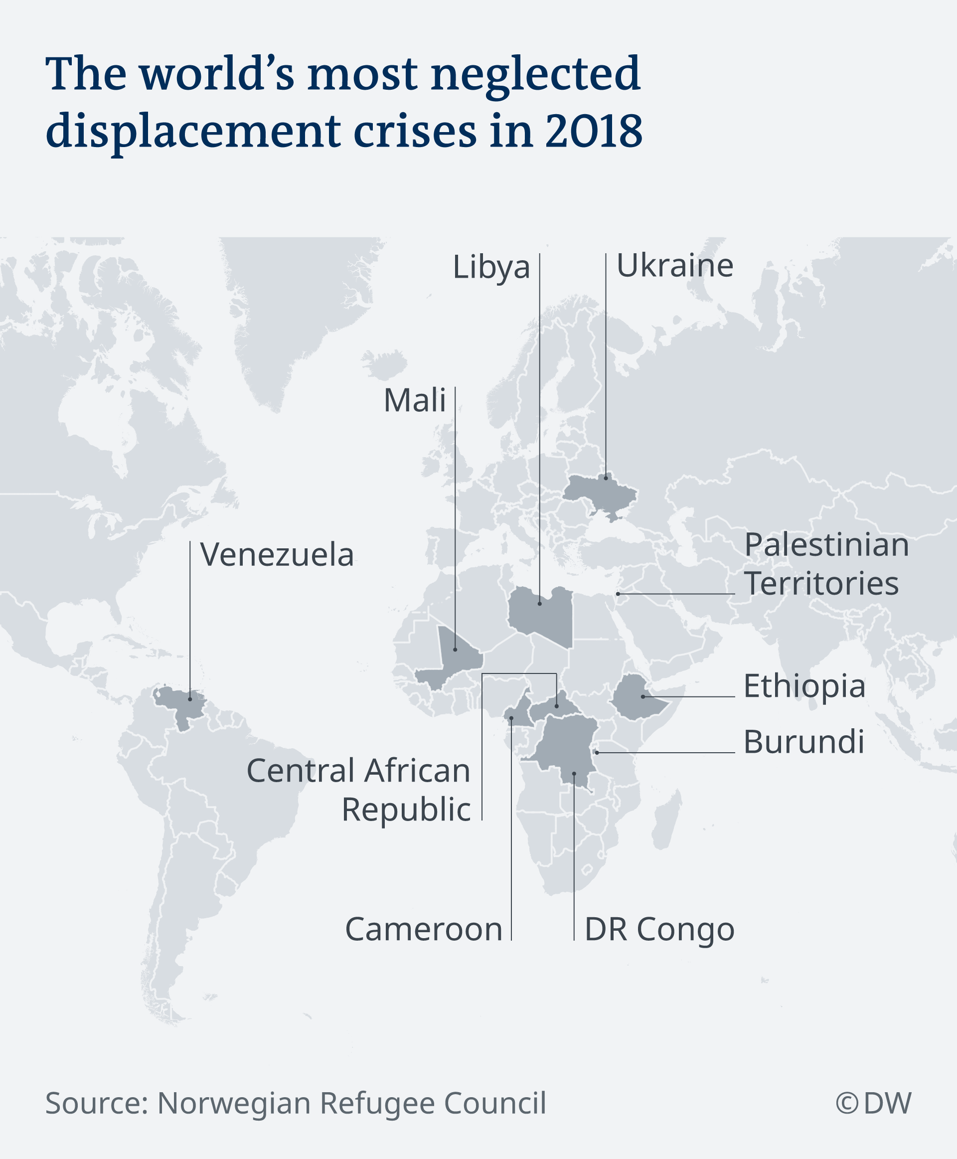 Map of the world's most neglected displacement crises
