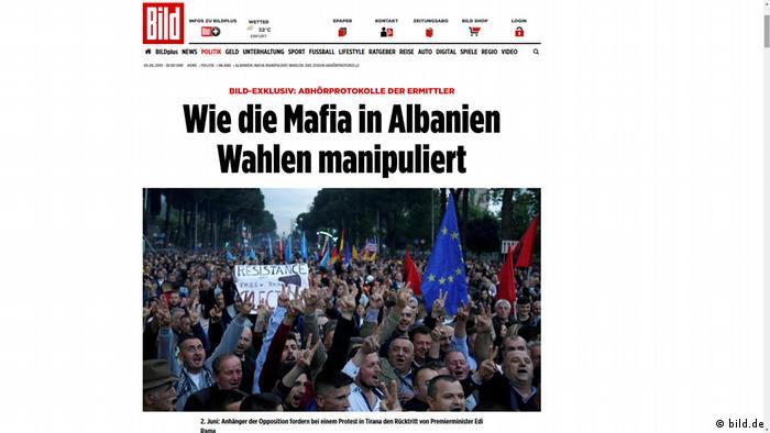 Screenshot BILD-Zeitung - Wie die Mafia in Albanien Wahlen manipuliert