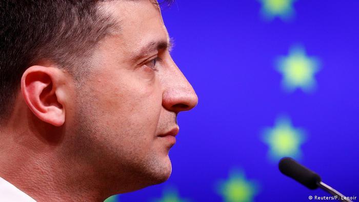 Volodymyr Zelenskiy, Ukraine's president, against an EU flag backdrop