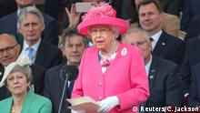 Britain's Queen Elizabeth II gives her speech durning an event to commemorate the 75th anniversary of D-Day, in Portsmouth, Britain, June 5, 2019. Chris Jackson/Pool via Reuters