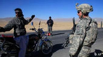 A UN soldier at a checkpoint