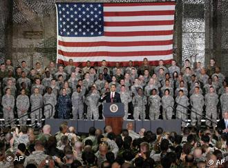 US President Barack Obama speaks to US soldiers at Osan Air Force Base in South Korea