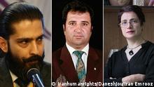 Bildkombo Iran Amir Salar Davoudi, Mohammad Najafi und Nasrin Sotoudeh