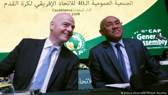 FIFA president Gianni Infantino, left, sits alongside ex-CAF President, Ahmad Ahmad.
