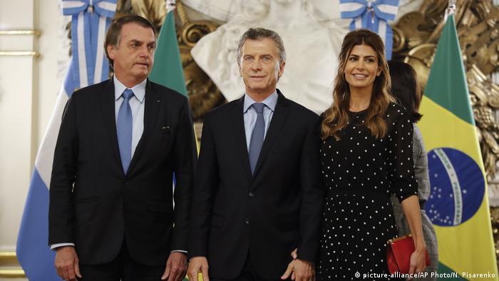 Bolsonaro com presidente argentino, Mauricio Macri e a primeira-dama argentina, Juliana Awada